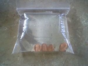 Pennies from heaven -- in a water bag